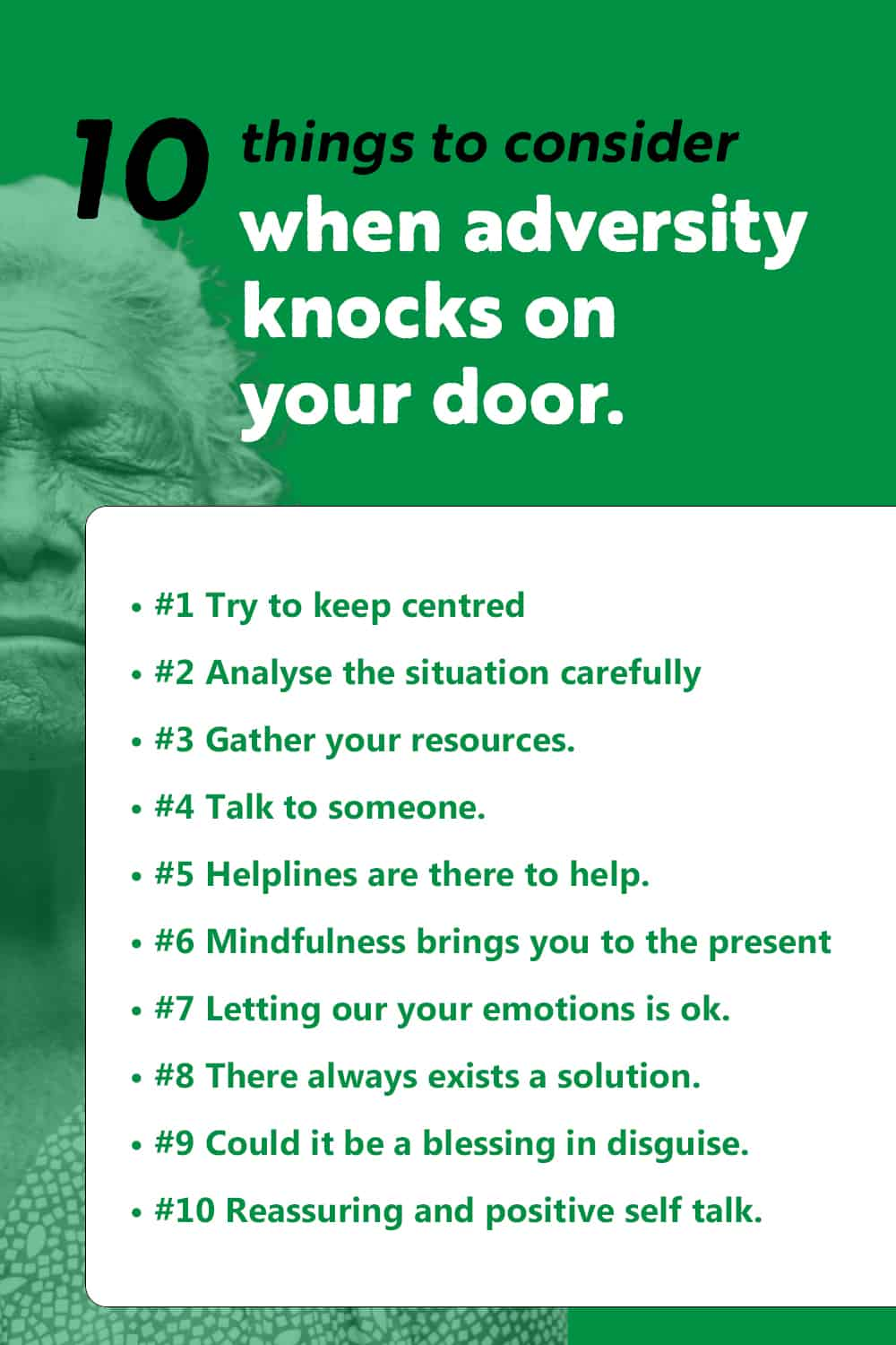 infographic on the 10 things to consider when adversity knock on your door.