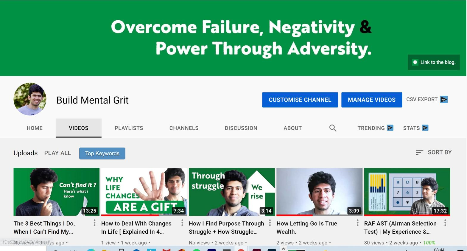 Video-library-image-of-youtube-channel-with-green-colour-scheme-and-video-content