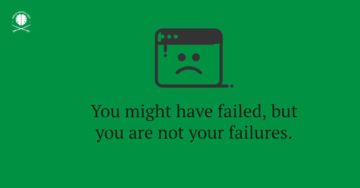 Green background with black text with sad icon, around the subject of failure.