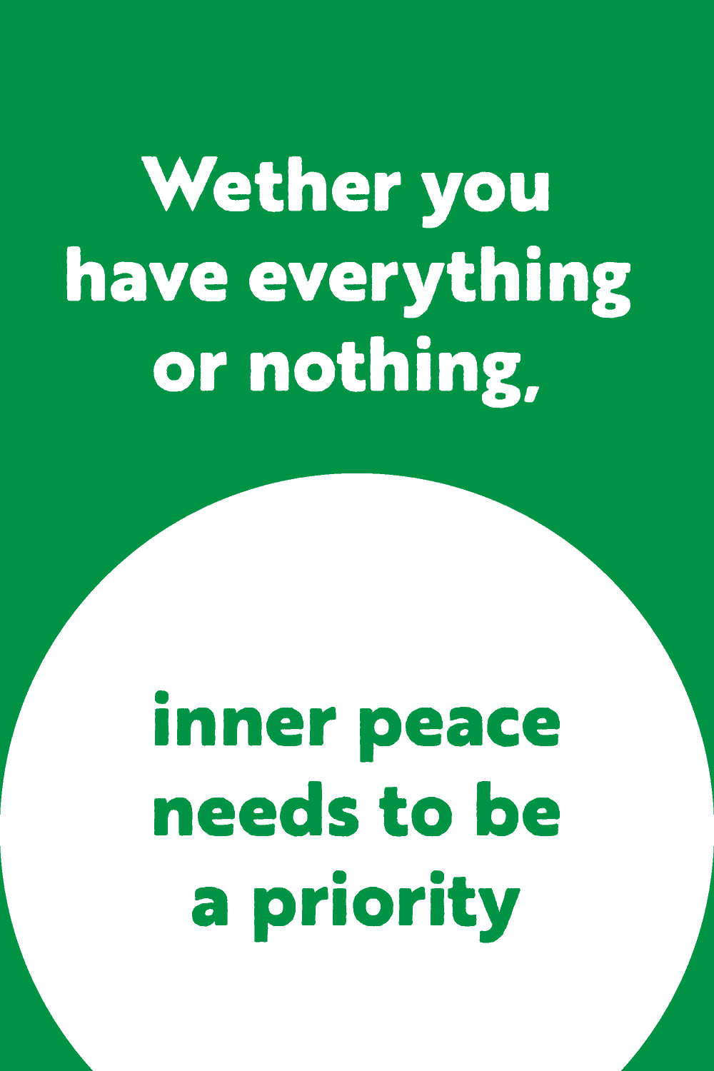 graphic with green backgrond and white text on inner peace and adversity